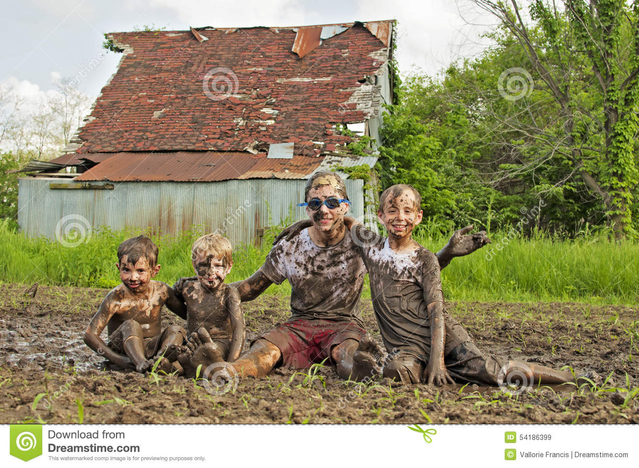 Country Boys Playing In Mud Stock Photo Image 54186399