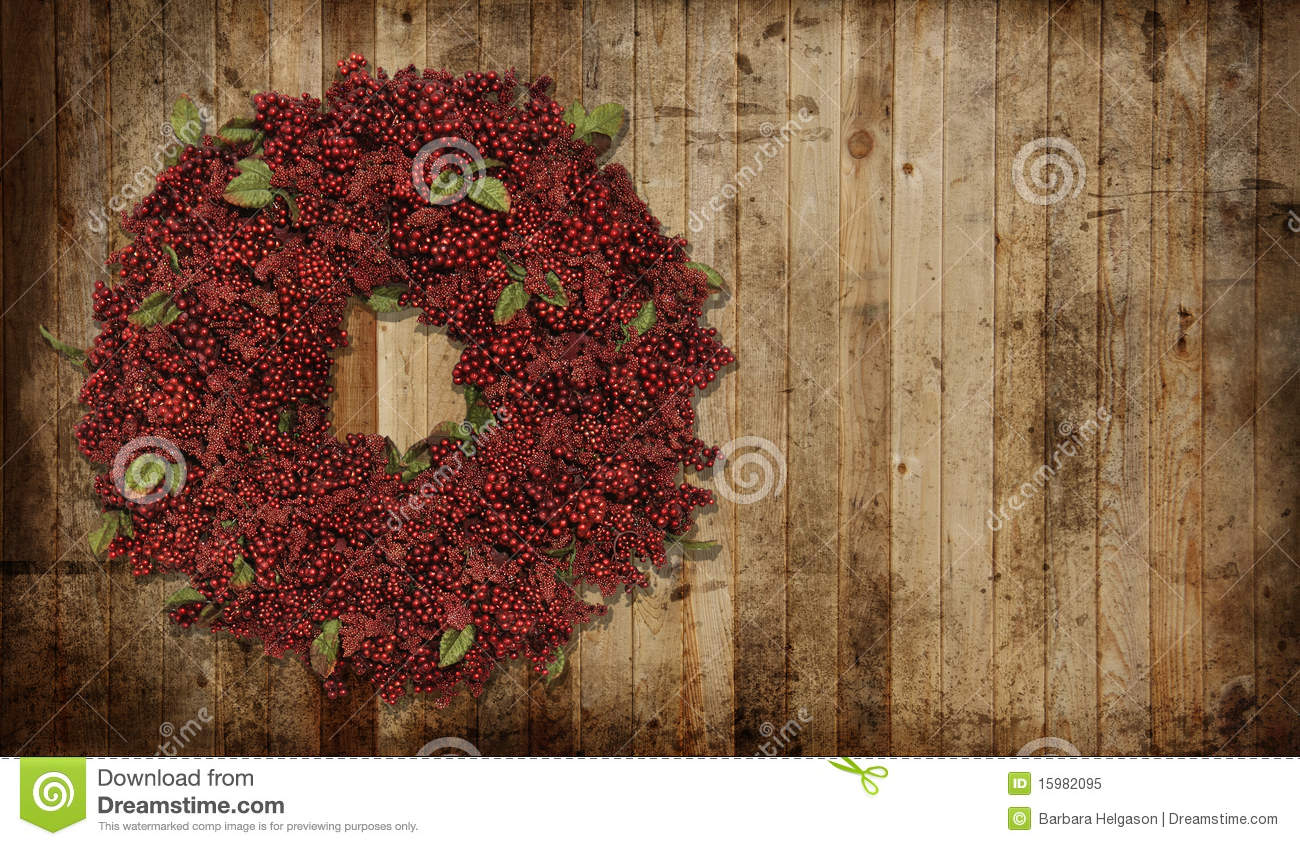Country Christmas Wreath Stock Image Of Garland