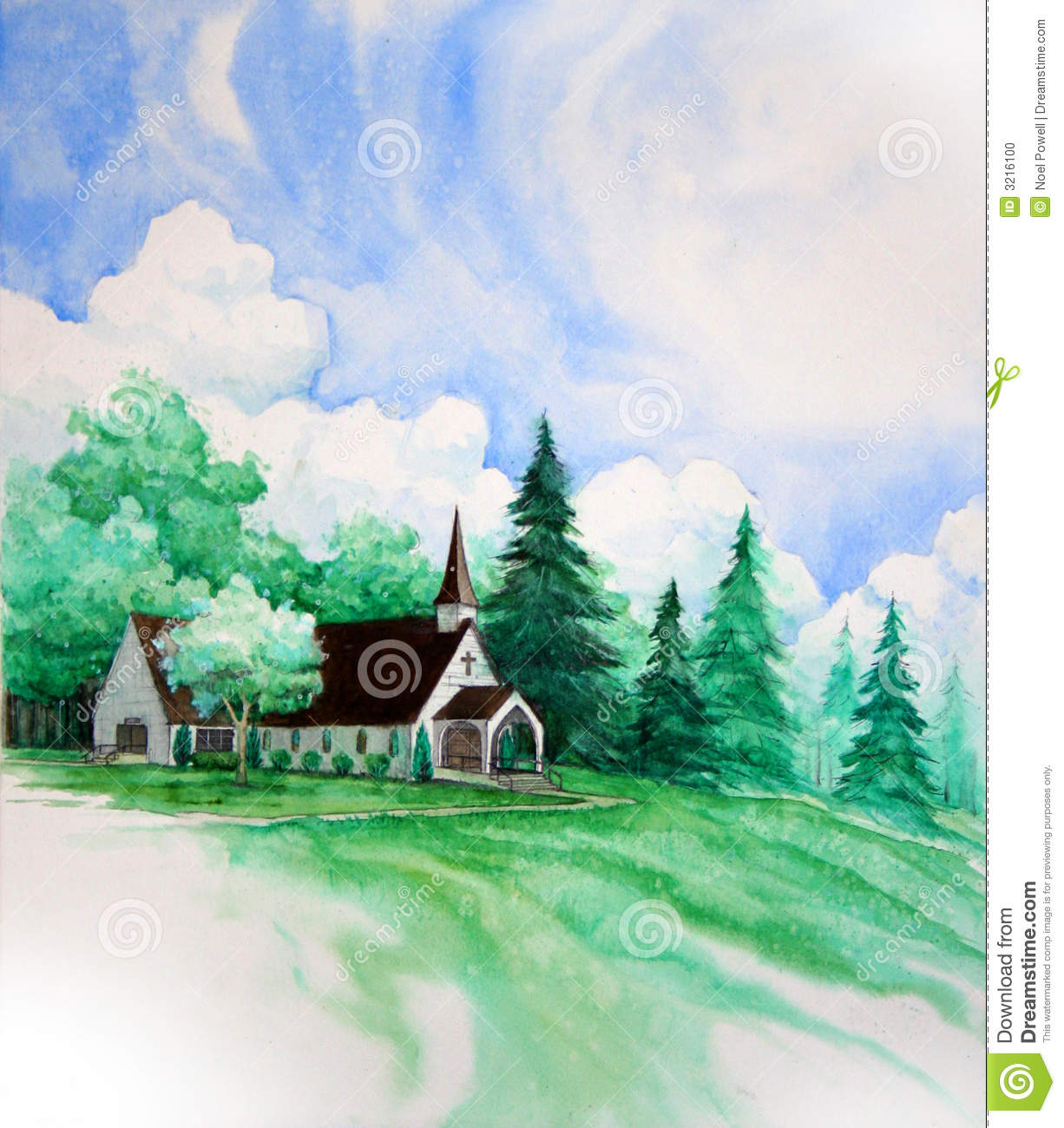 Country Church Painting Stock Photo Image Of Watercolor