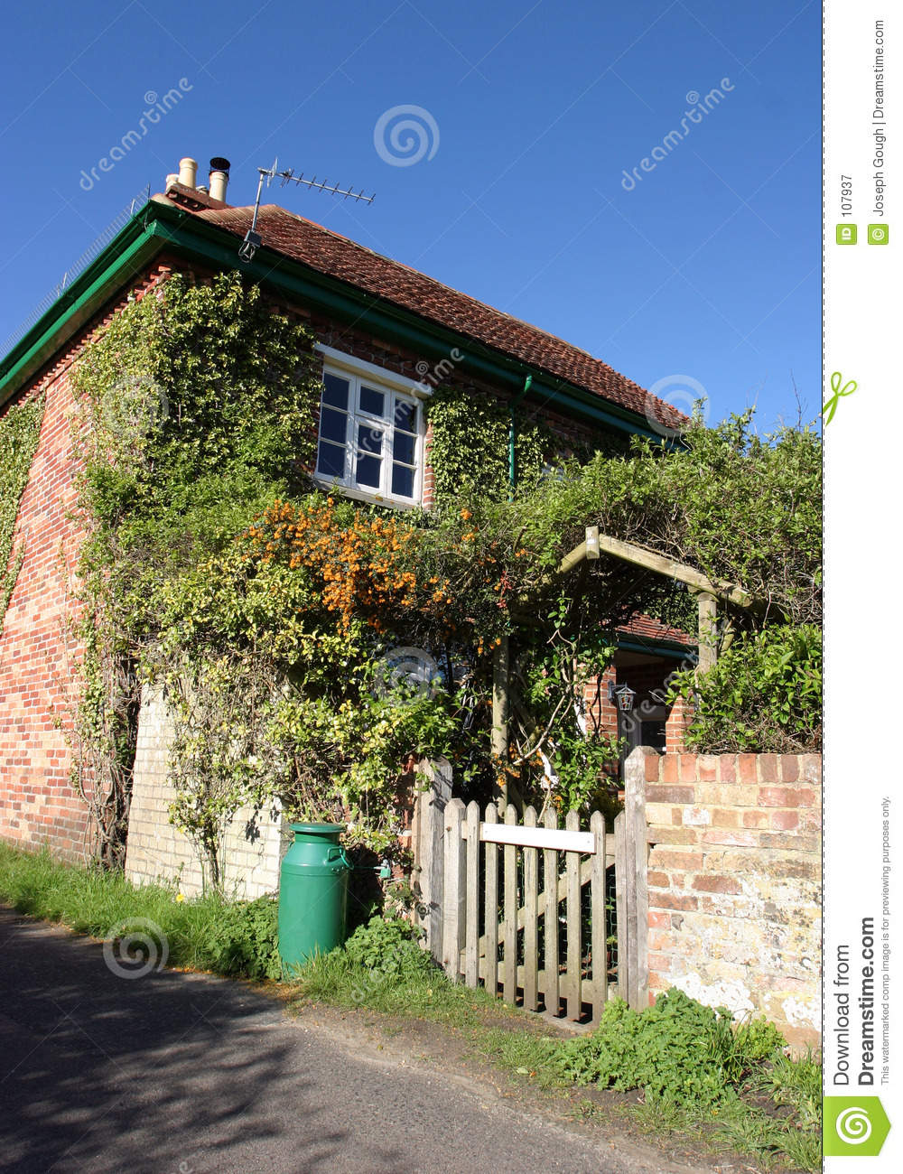 Download Country Cottage stock image. Image of home, arch, walled - 107937