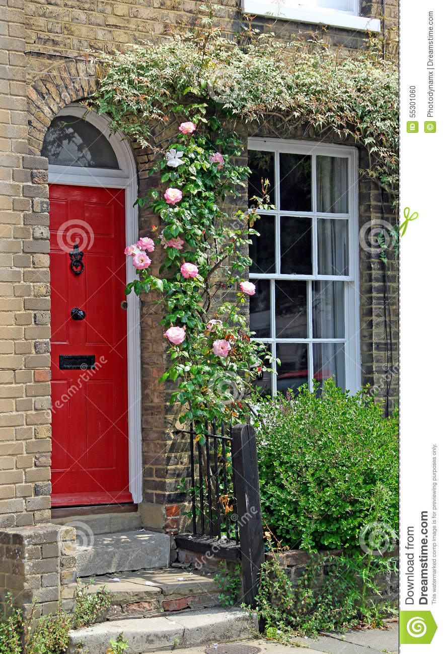 Country Cottage Door Roses Stock Photo Image Of Pink 55301060