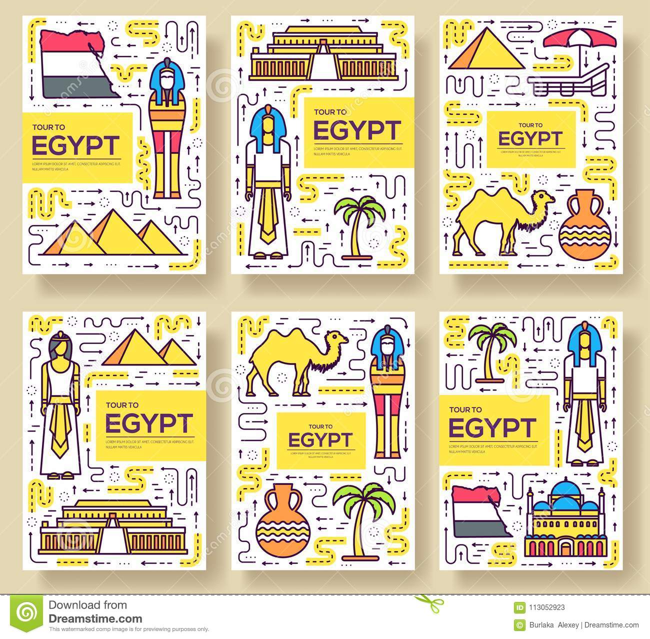 Country Egypt Travel Vacation Guidevector Brochure Card Thin Line