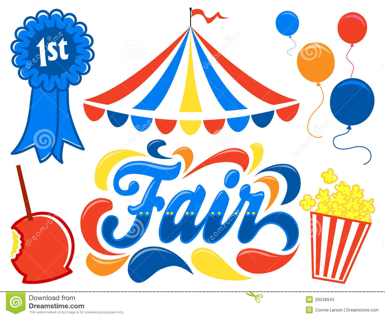 Illustrated logotype headline of the title Fair, with clipart images ...