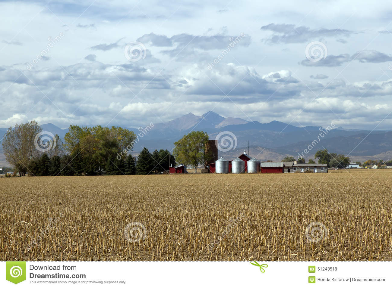 Download Country Farm Along The Mountain Range Stock Photo