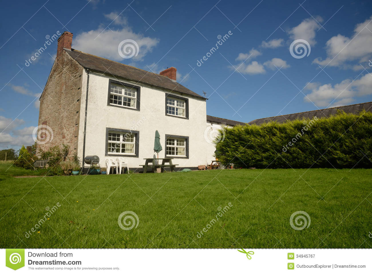 Country farm house with lawn royalty free stock for Country house online
