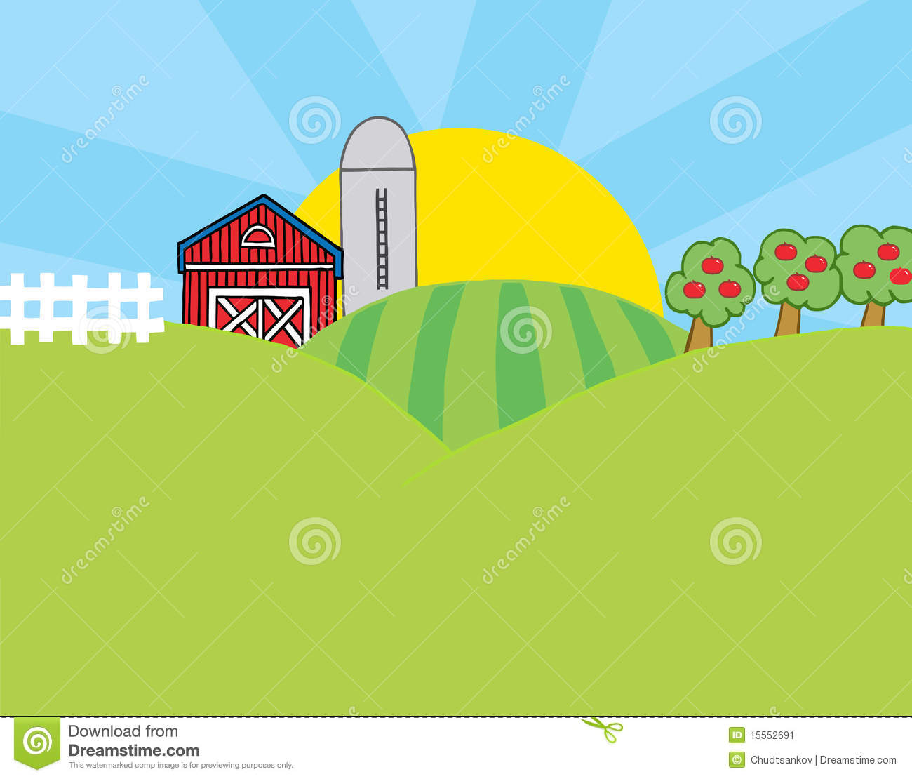 Country Farm Scene Stock Image - Image: 15552691