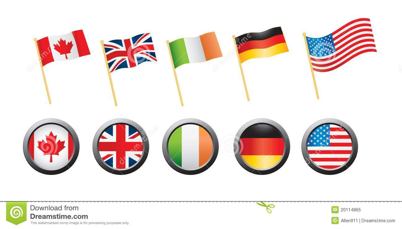Country Flags And Pins On White Background Royalty Free Stock ...