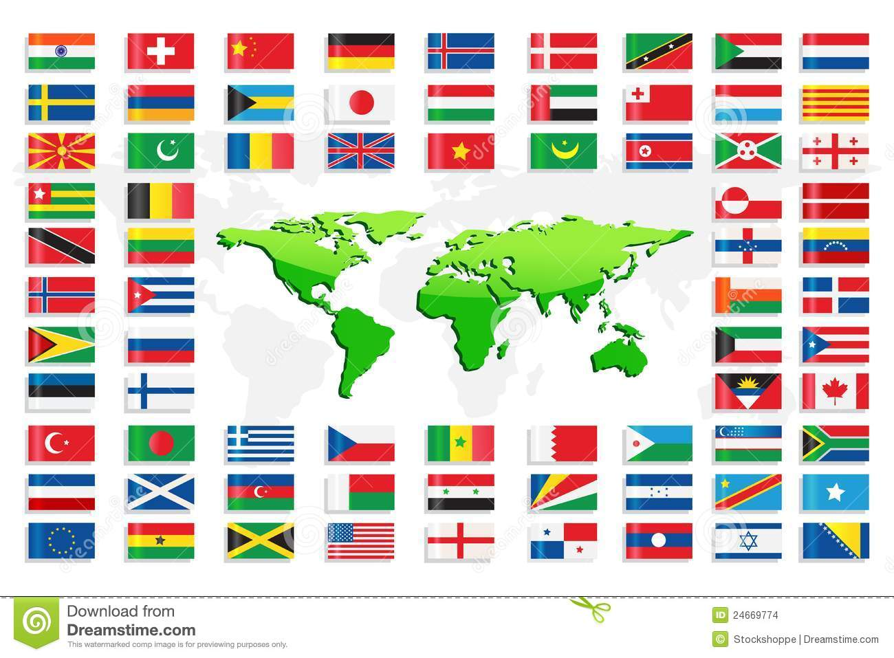 Foreign Country Flags on World Map With Country Flags