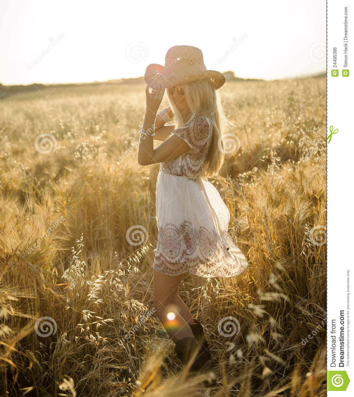 Country Girl In Hay Field 2 Royalty Free Stock Image ...