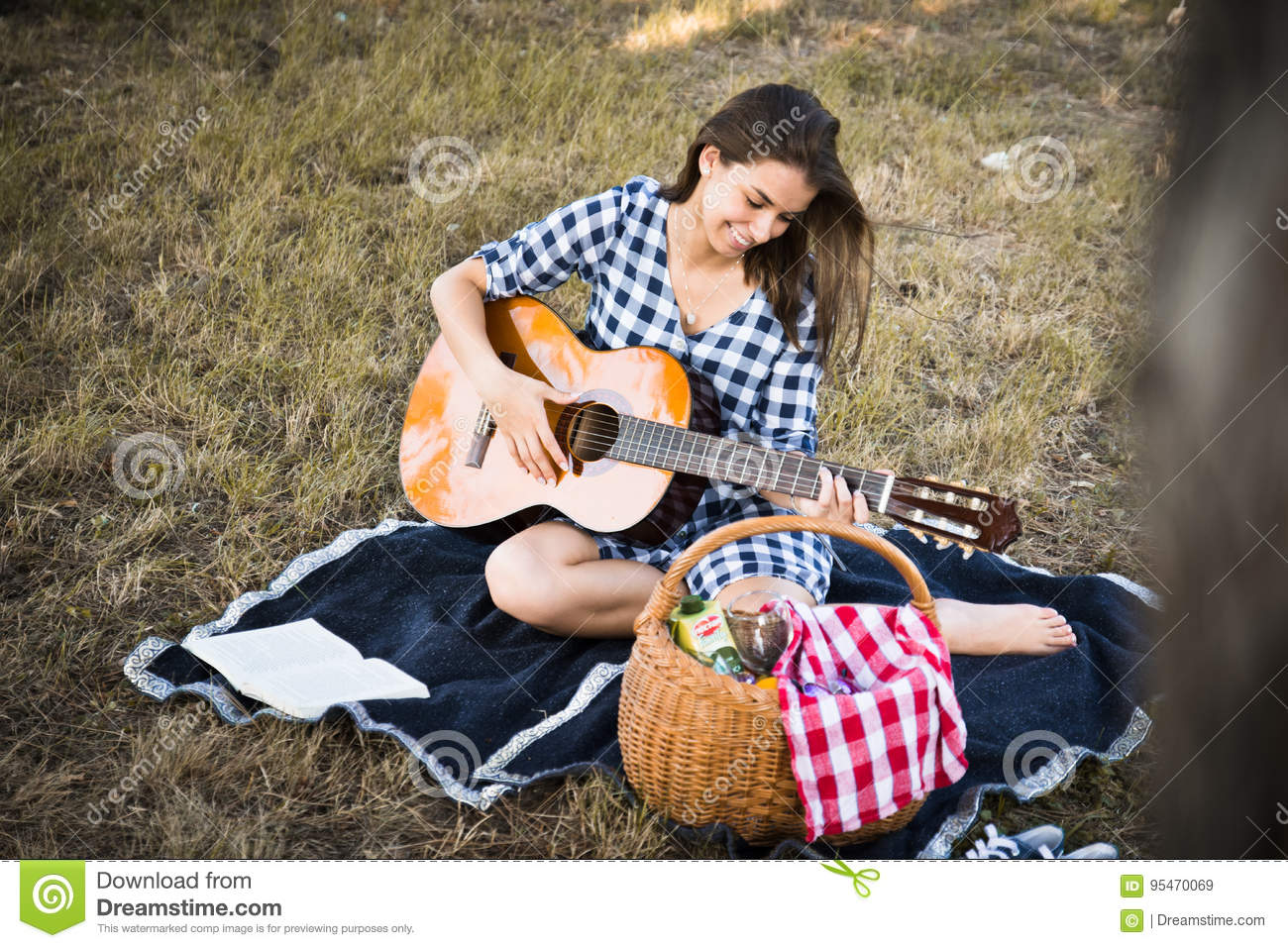 country girl plays guitar stock image image of adorable 95470069