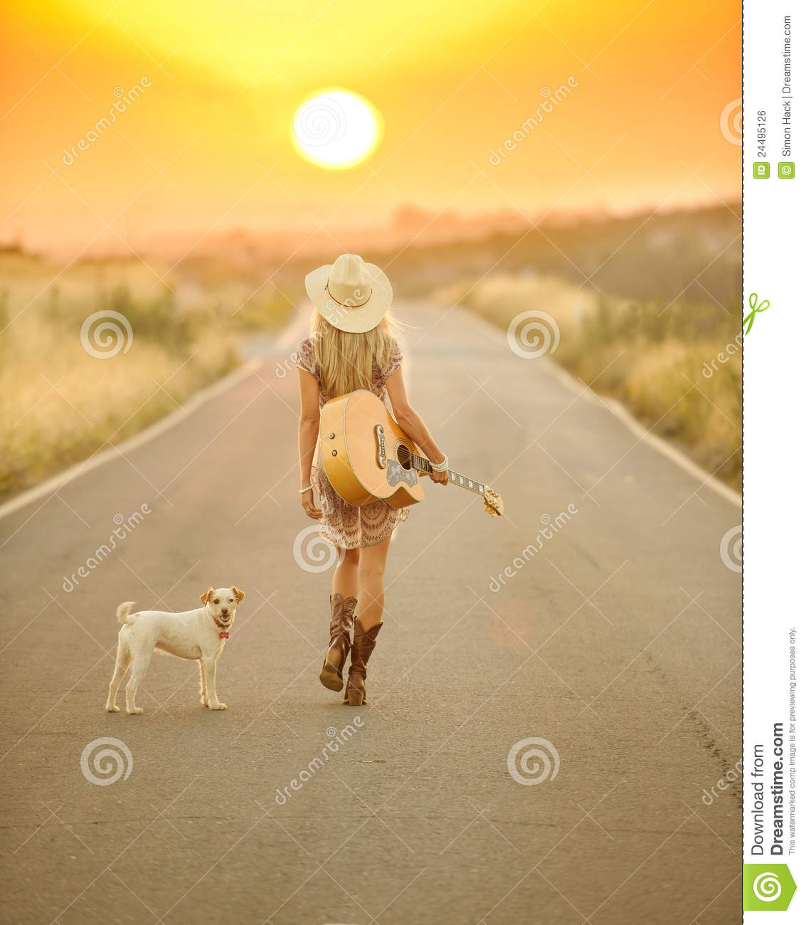Download Country Girl Walking Down A Sunset Road Stock Photo - Image of soothing, park: 24495126