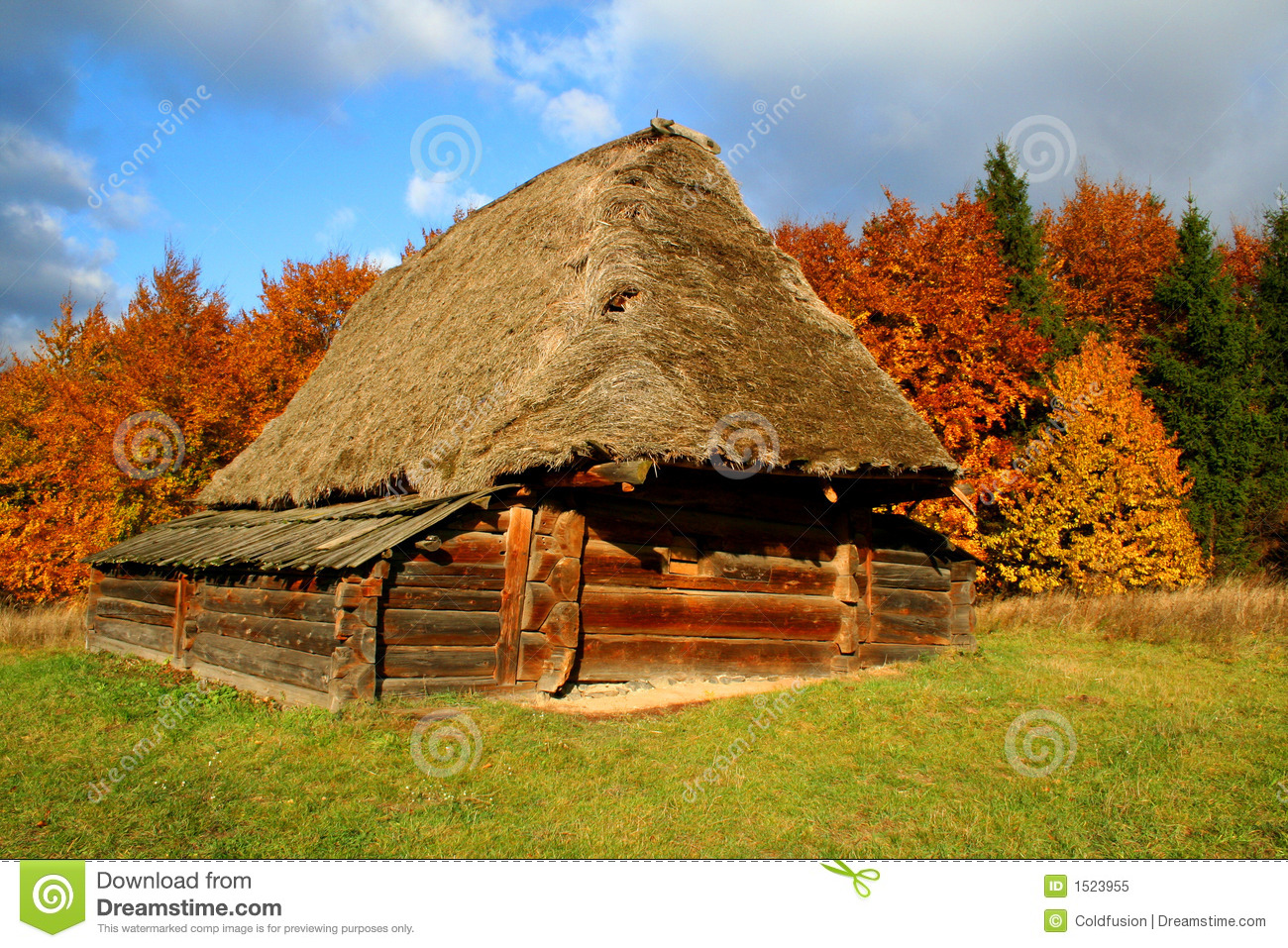 Country House Autumn Landscape Royalty Free Stock Photo