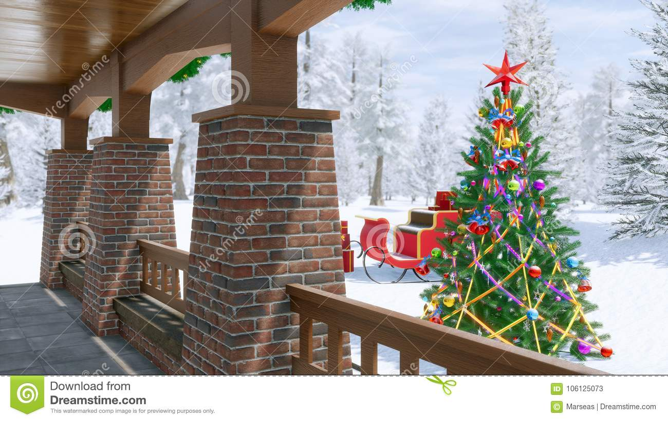 country house with christmas decoration - Decorating Porch For Christmas Country