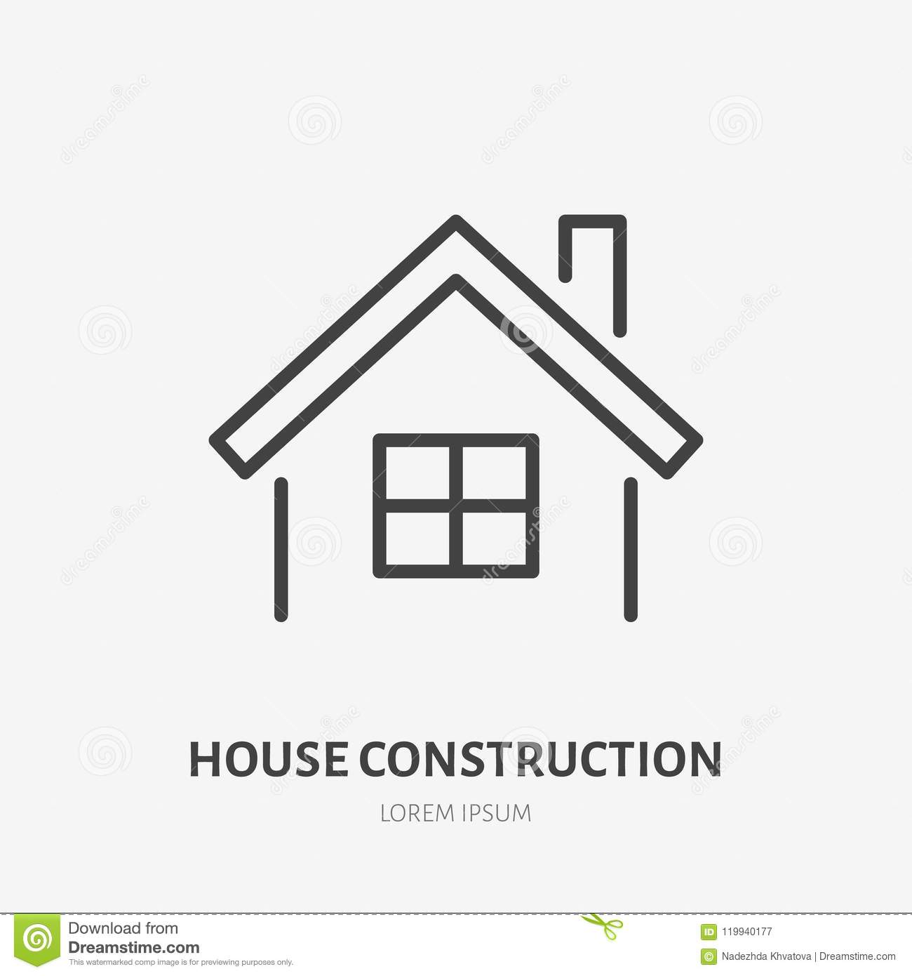Country house flat line icon. Real estate sign. Thin linear logo for home repair, construction services
