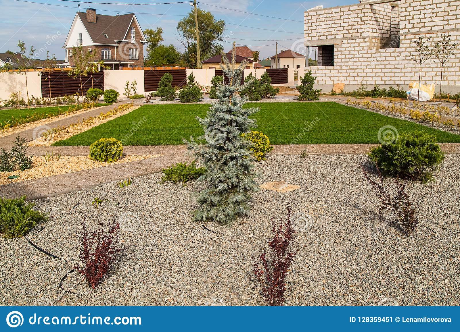 Country house and green lawn. Landscape design.