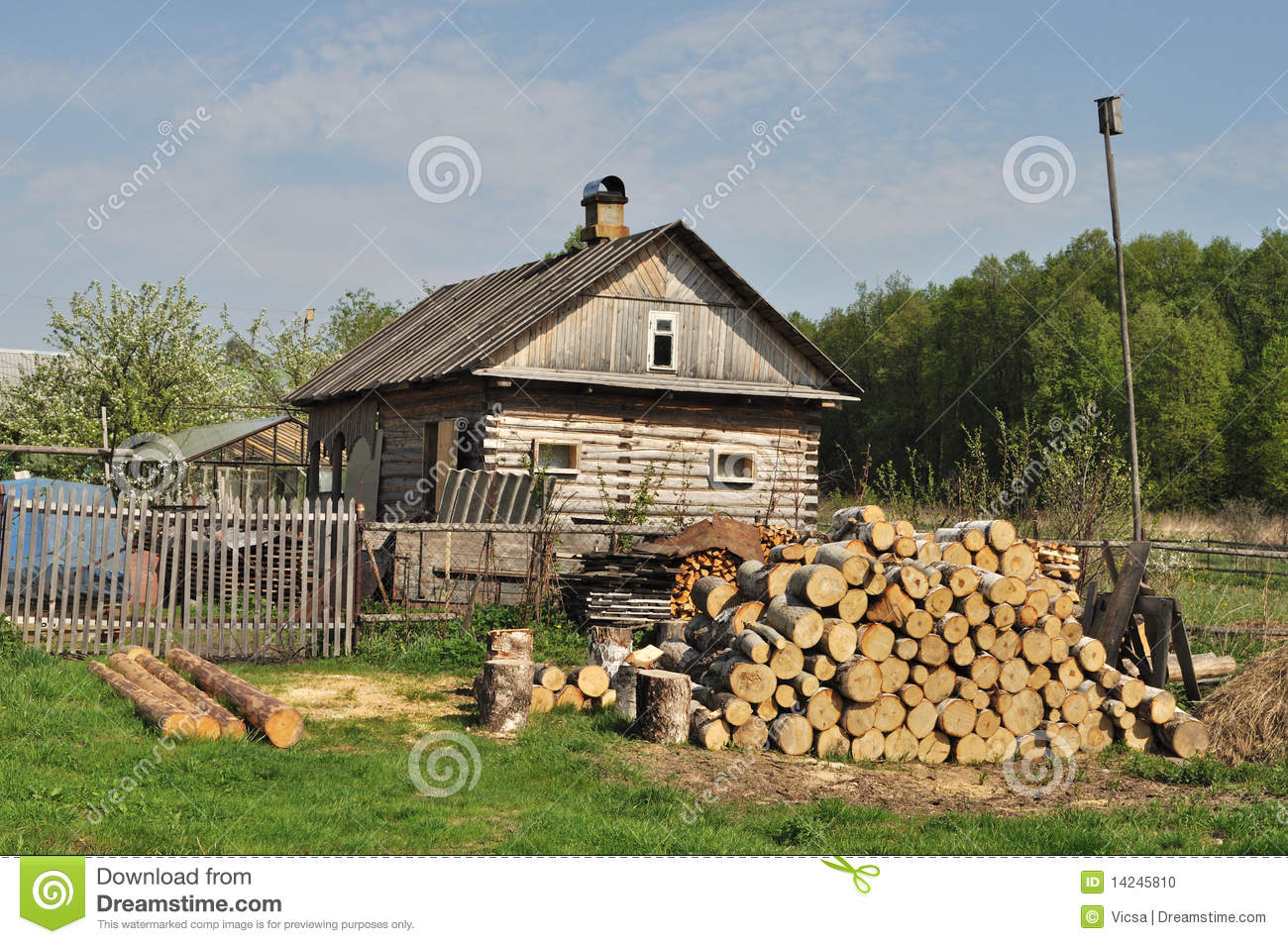 Country house with pile of firewood stock photo image House piles