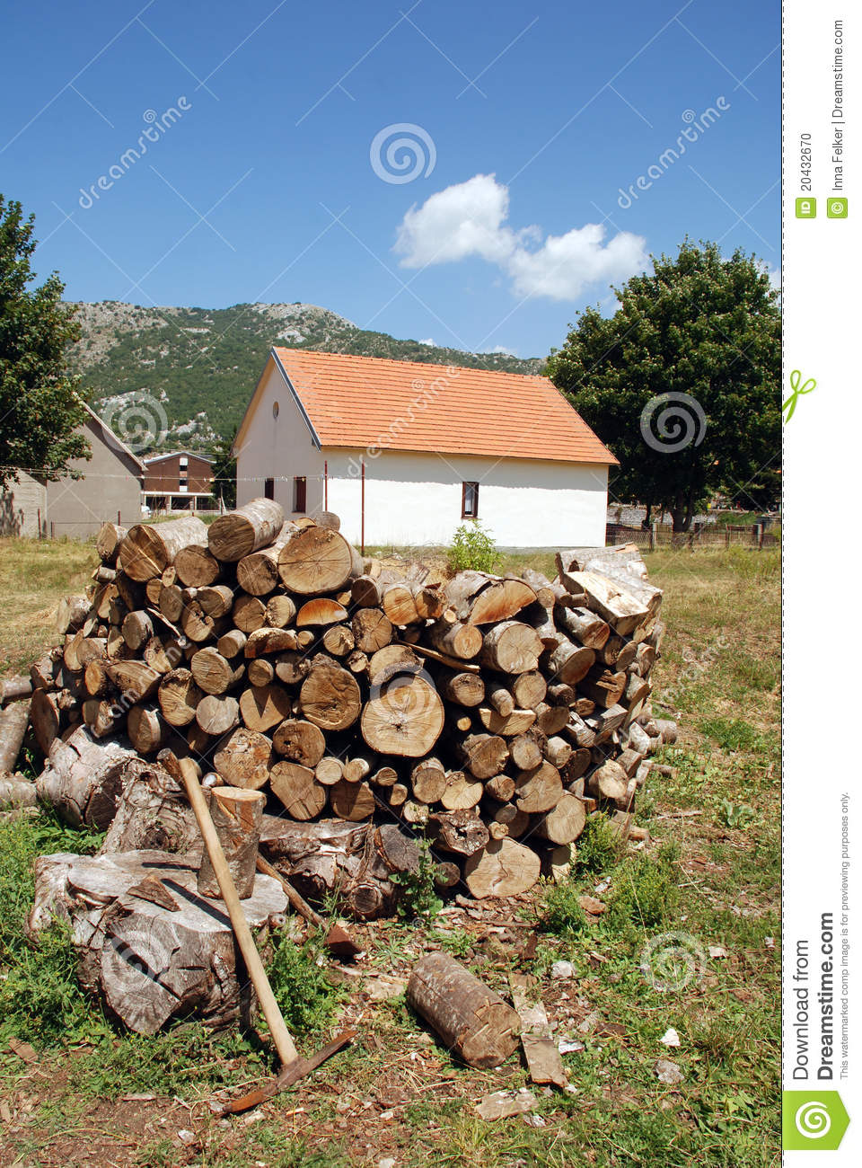 Country house with pile of firewood stock photo image for House piles