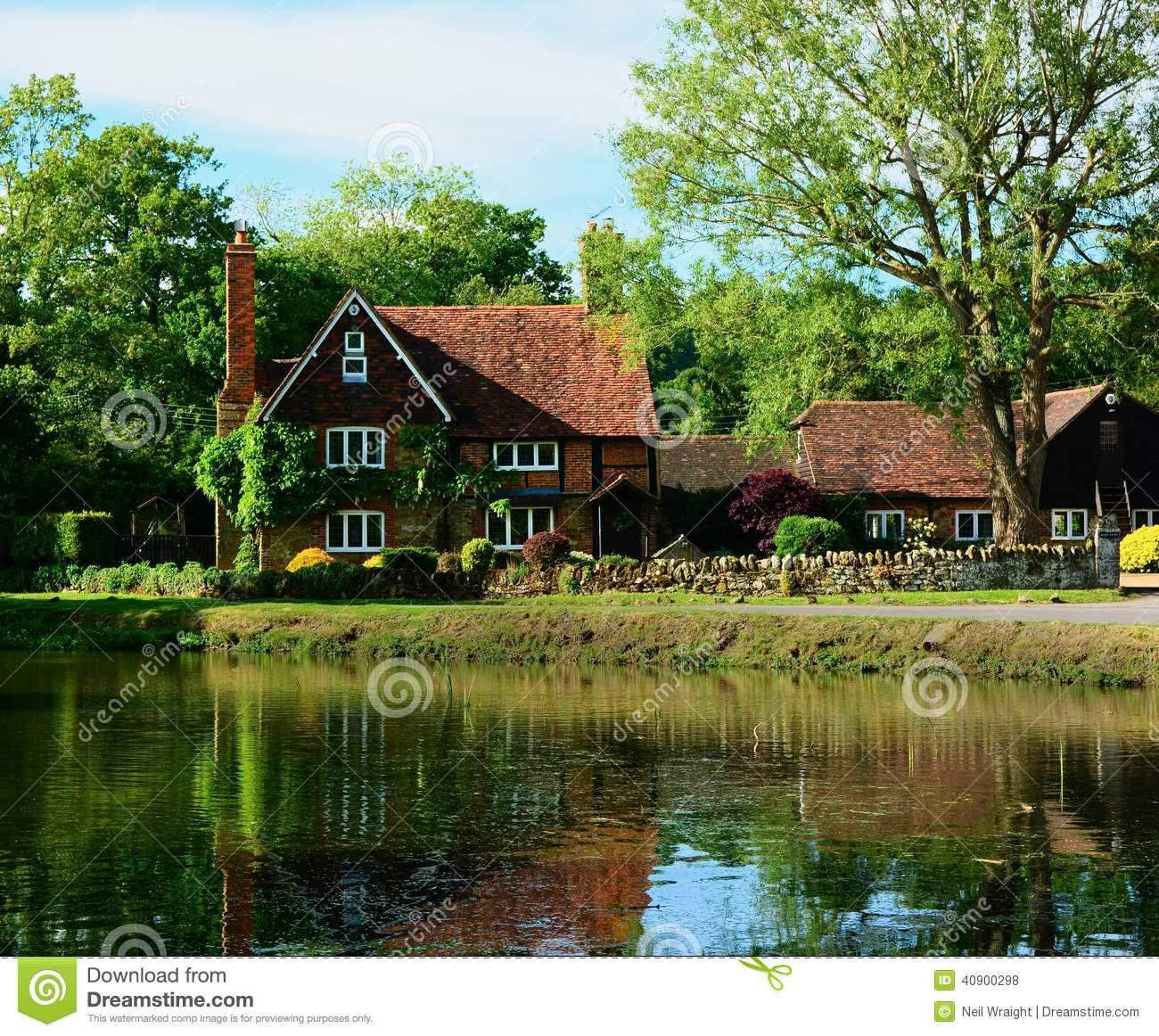 Country house with pond stock photo image of beams tile for Country house online