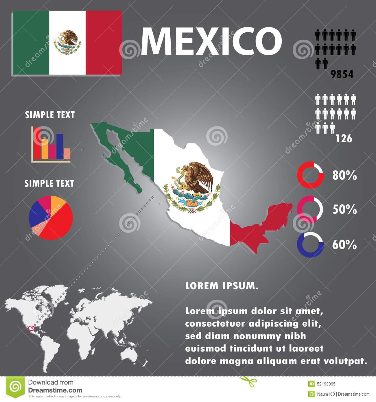 Mexico Country Infographics Mexico Country Vector