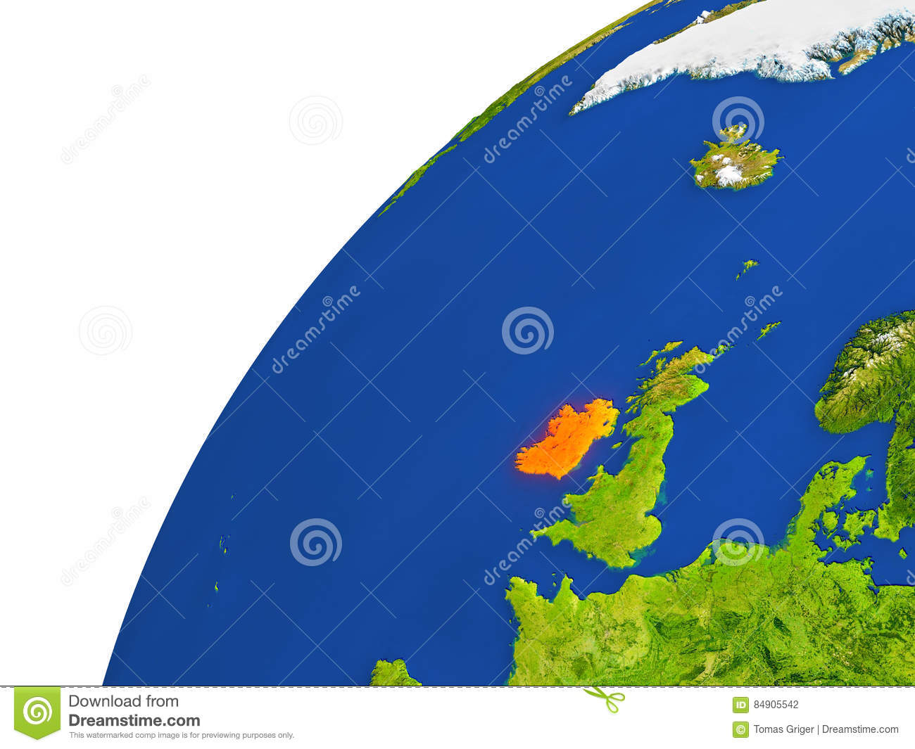 Satellite Map Of Ireland.Country Of Ireland Satellite View Stock Illustration Illustration