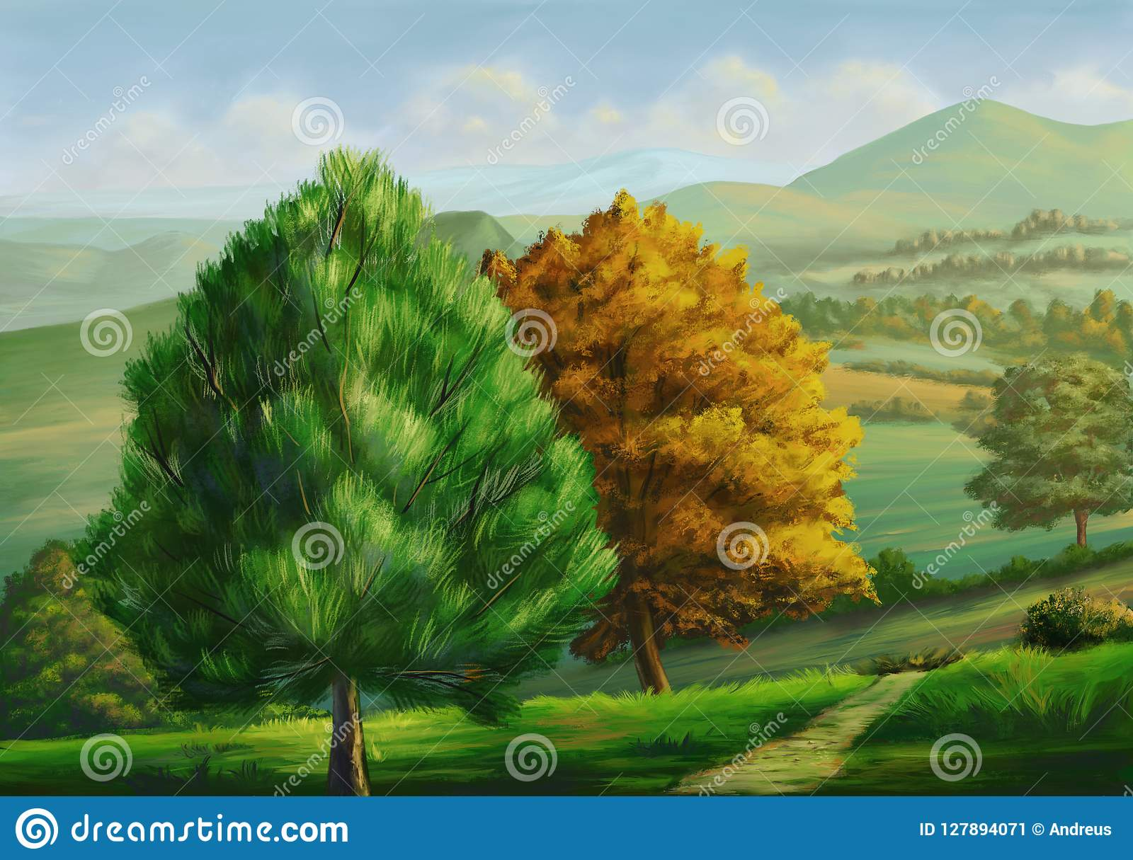 Country landscape with trees