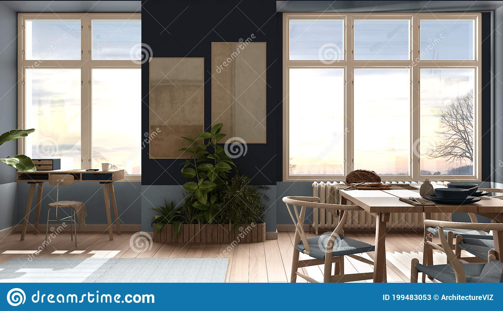 Country Living Room Eco Interior Design In Blue Tones Sustainable Parquet Dining Table With Chairs Potted Plants And Bamboo Stock Illustration Illustration Of Domestic Apartment 199483053