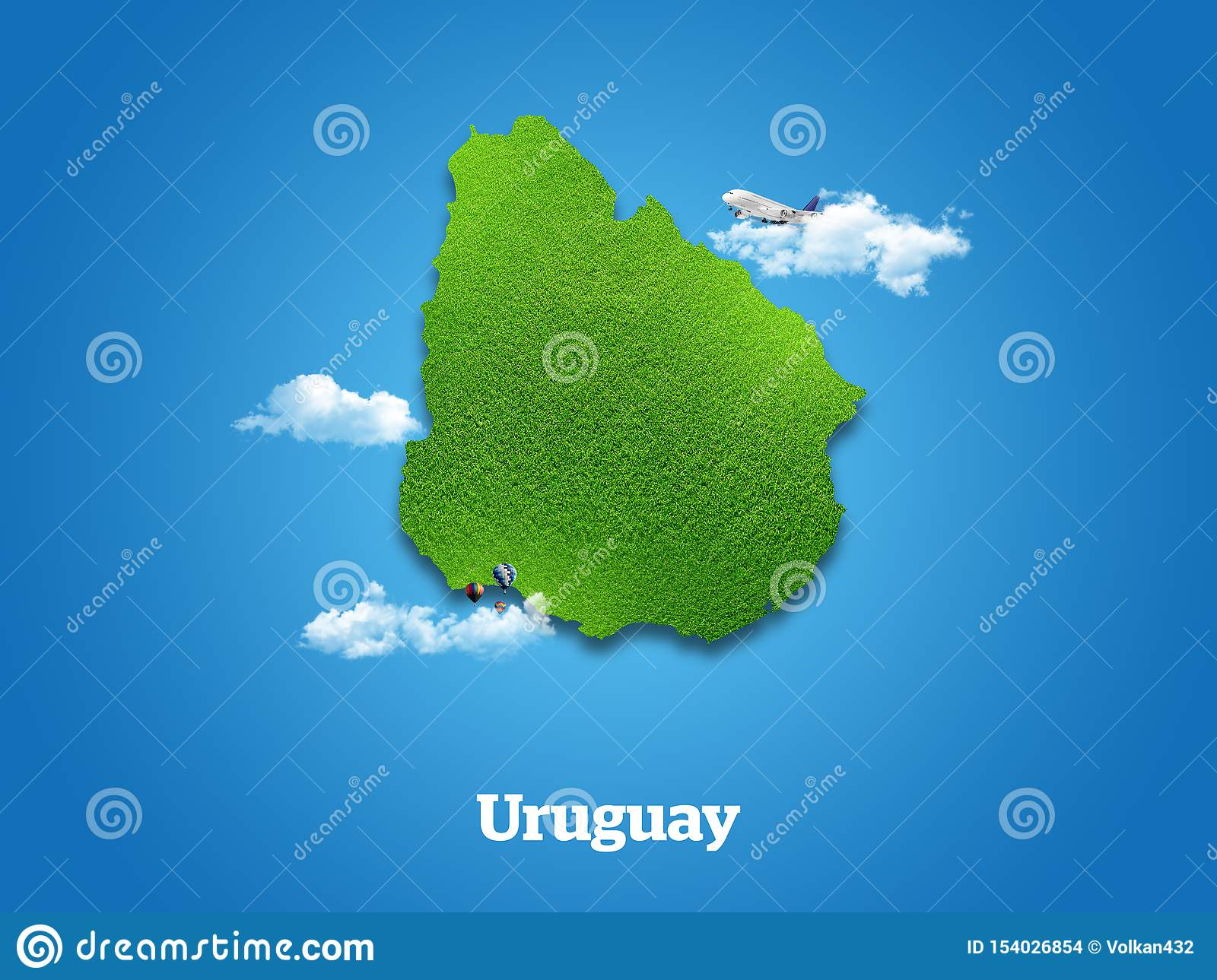 Uruguay Map. Green grass, sky and cloudy concept.