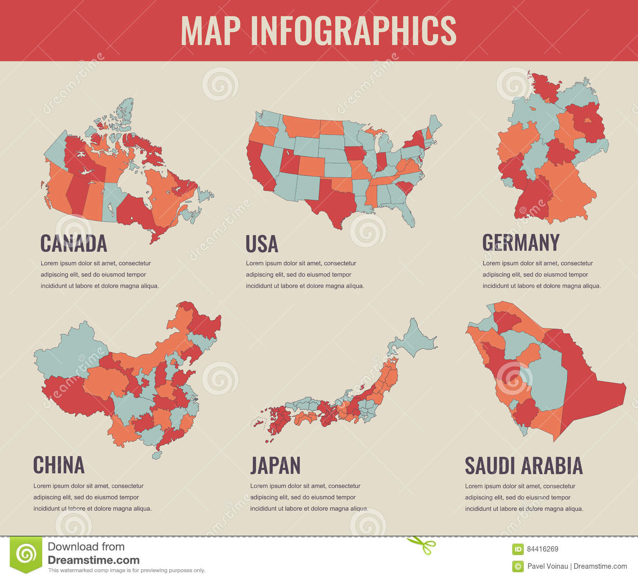 Country Maps Infographic Template USA Japan Canada China - Germany japan map
