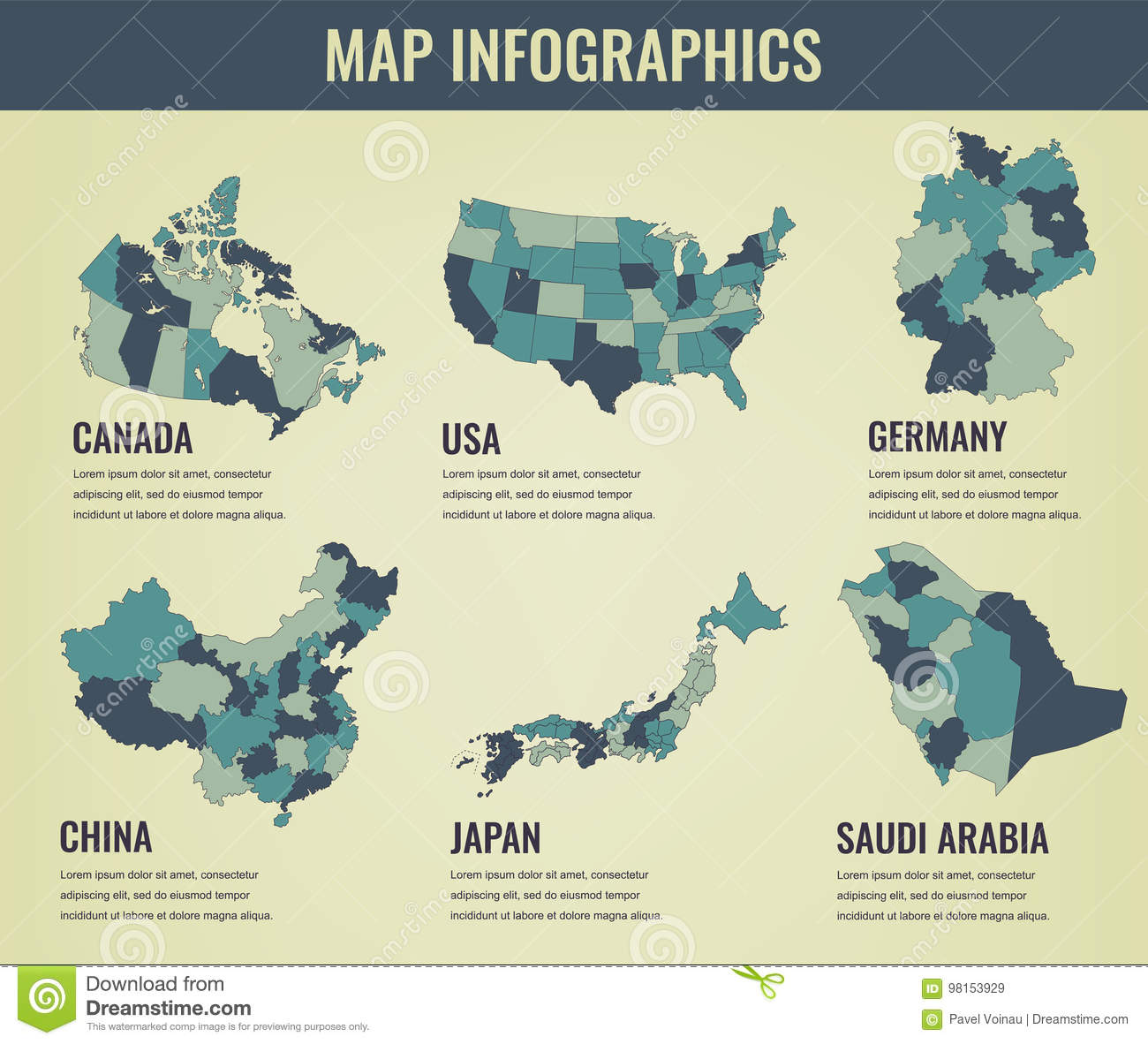 Country Maps Infographic Template. USA, Japan, Canada, China ...