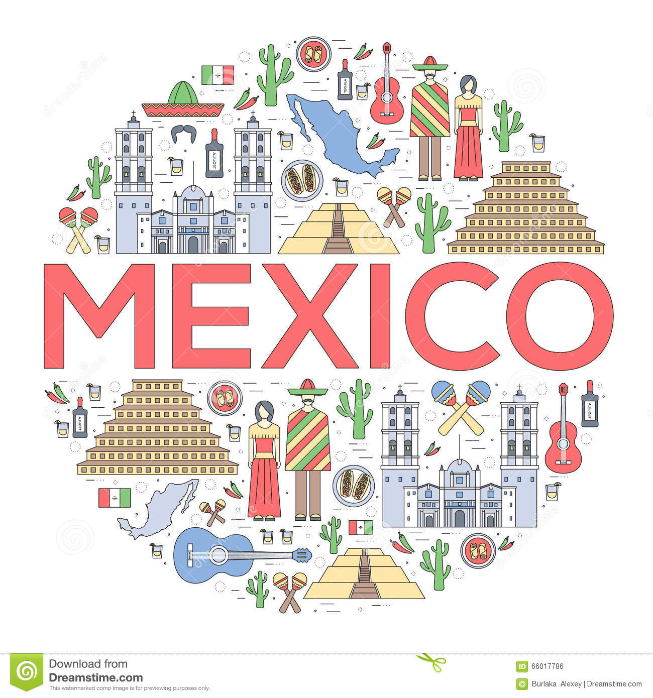 country mexico travel vacation guide of goods  places and waving mexican flag vector mexican flag vector file