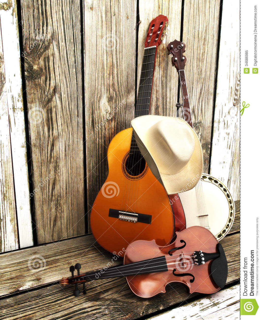 Country Music Background With Stringed Instruments. Royalty Free Stock ...