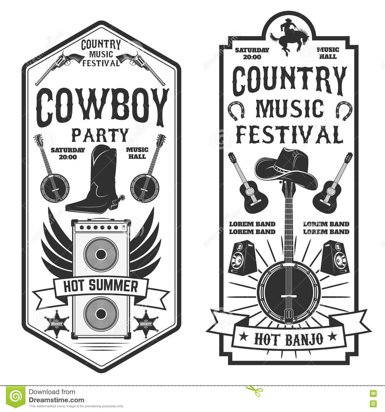 Country music festival flyer. Cowboy party. Western music festi