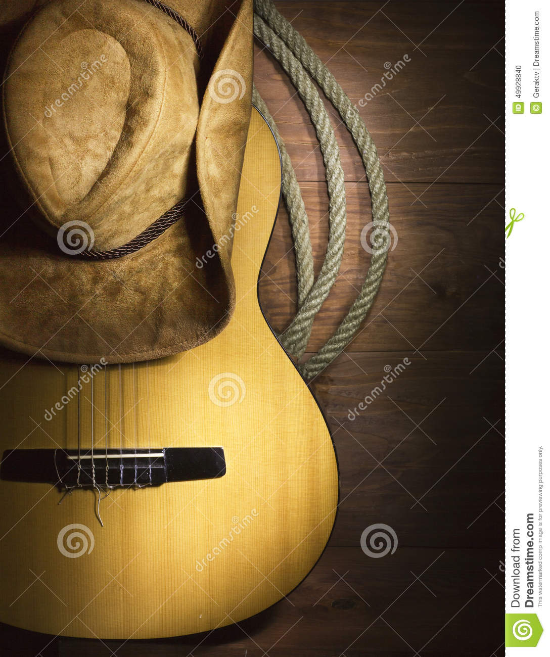 Country Music With Guitar On Wood Background Stock Photo