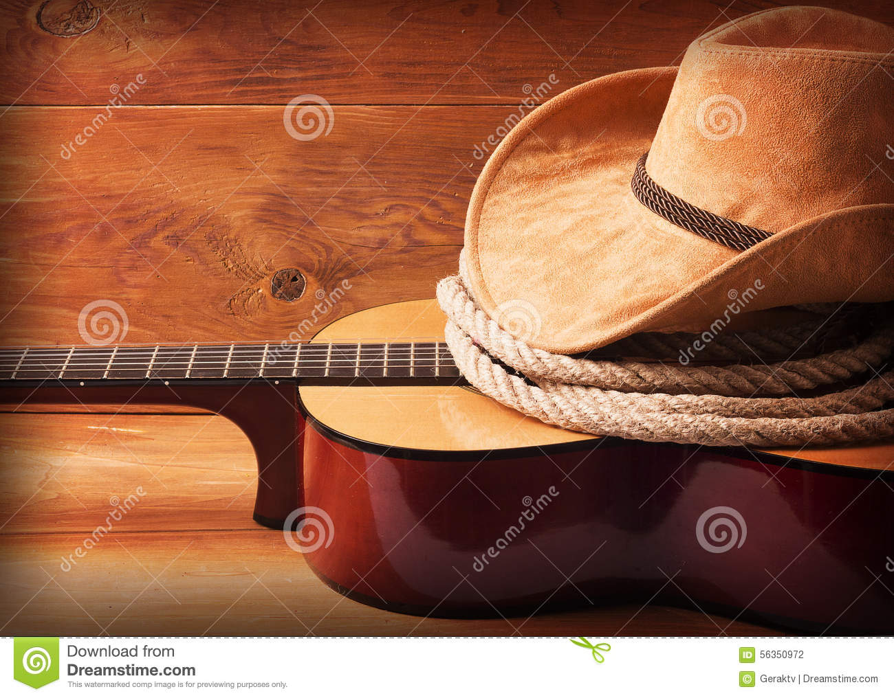 Country Music Picture With Guitar And Cowboy Hat Stock Photo - Image ...