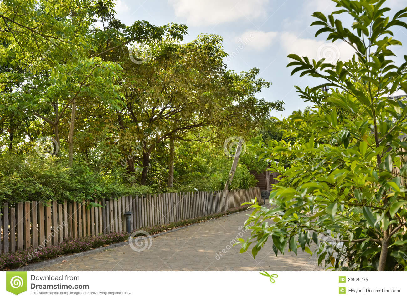 Country road along a wooden fence stock image of