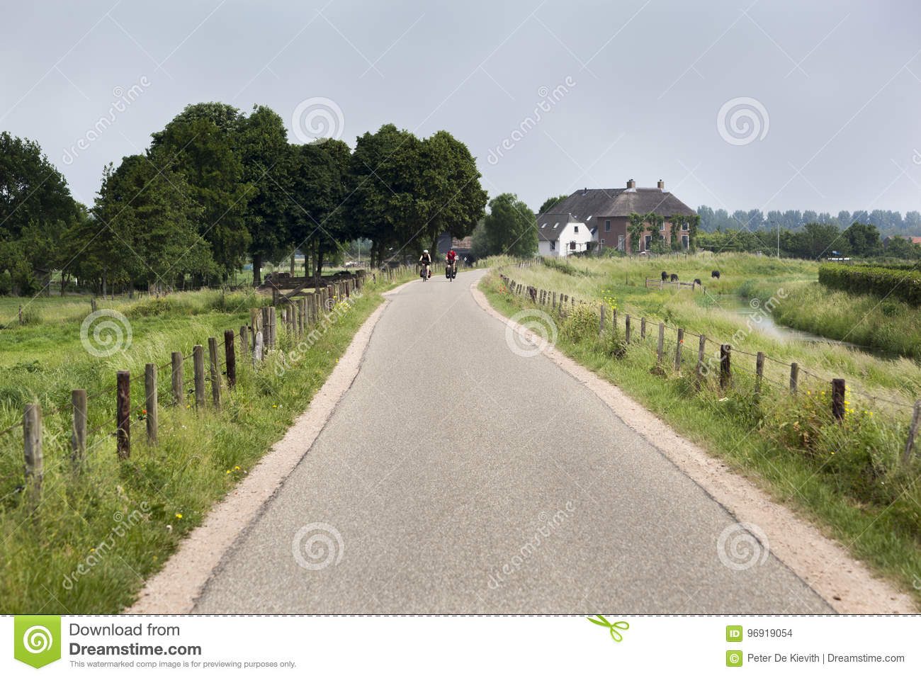 Country road with bikers in the distance