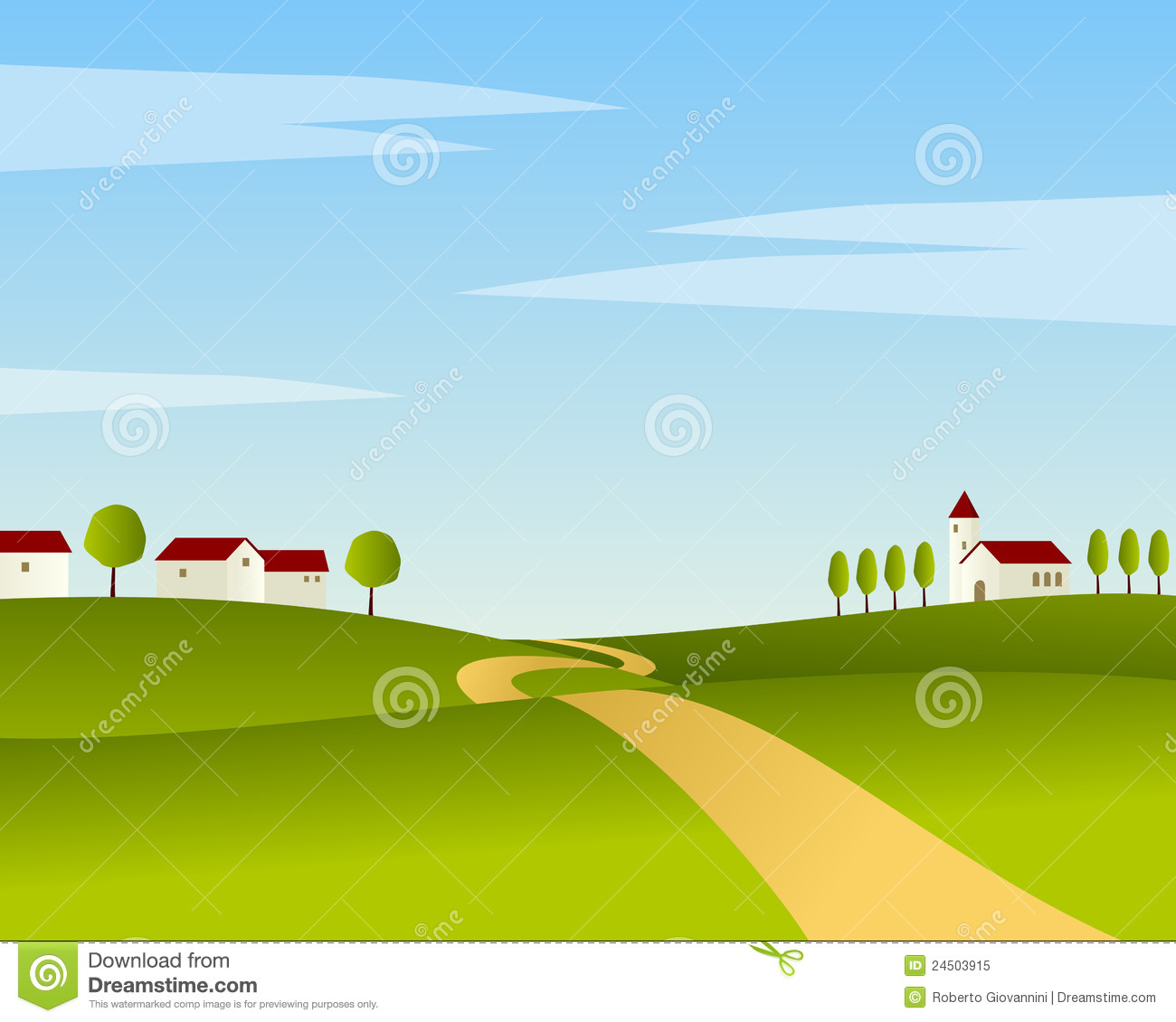 country road summer landscape stock vector image 24503915