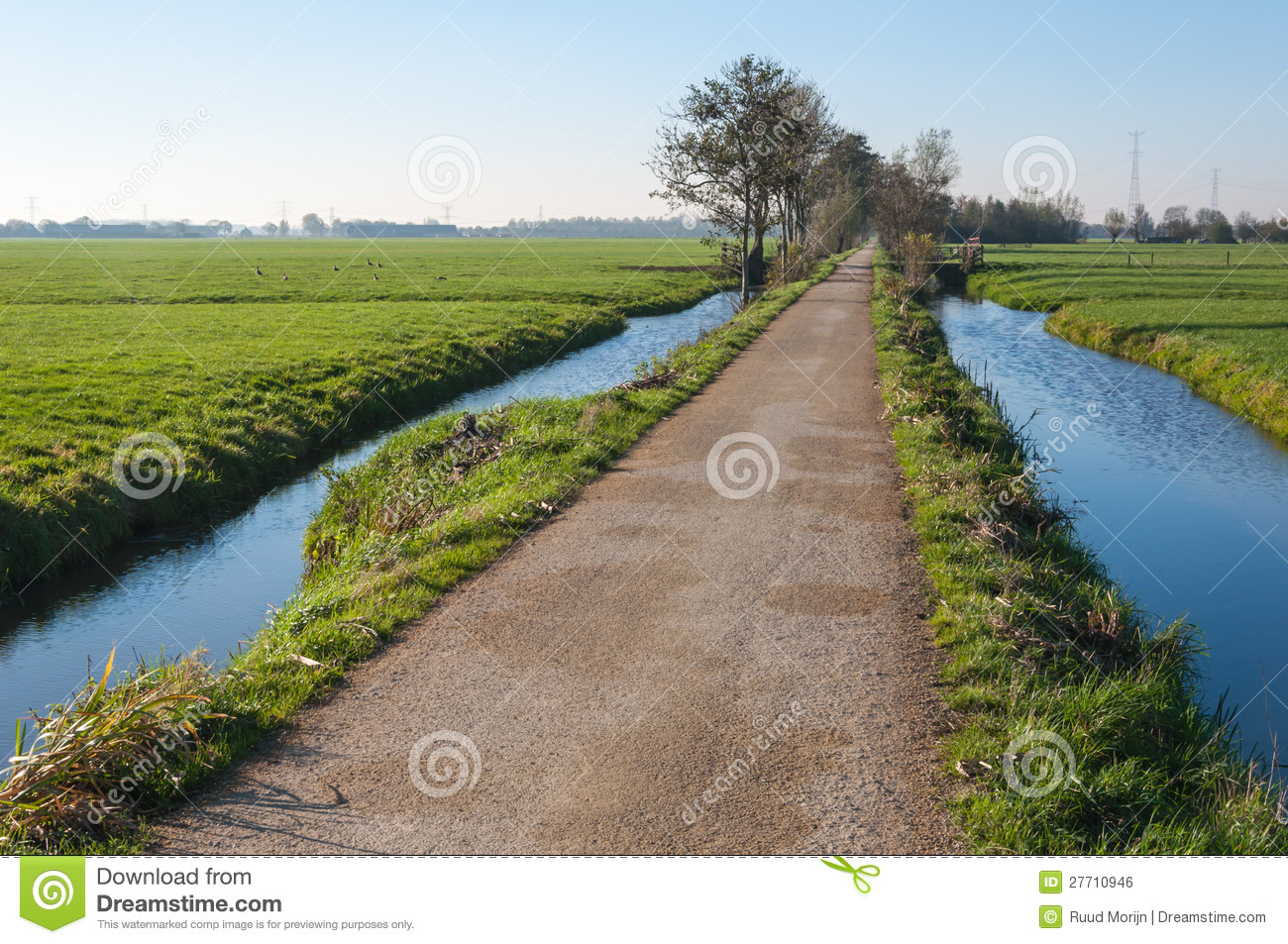 Country road between two ditches