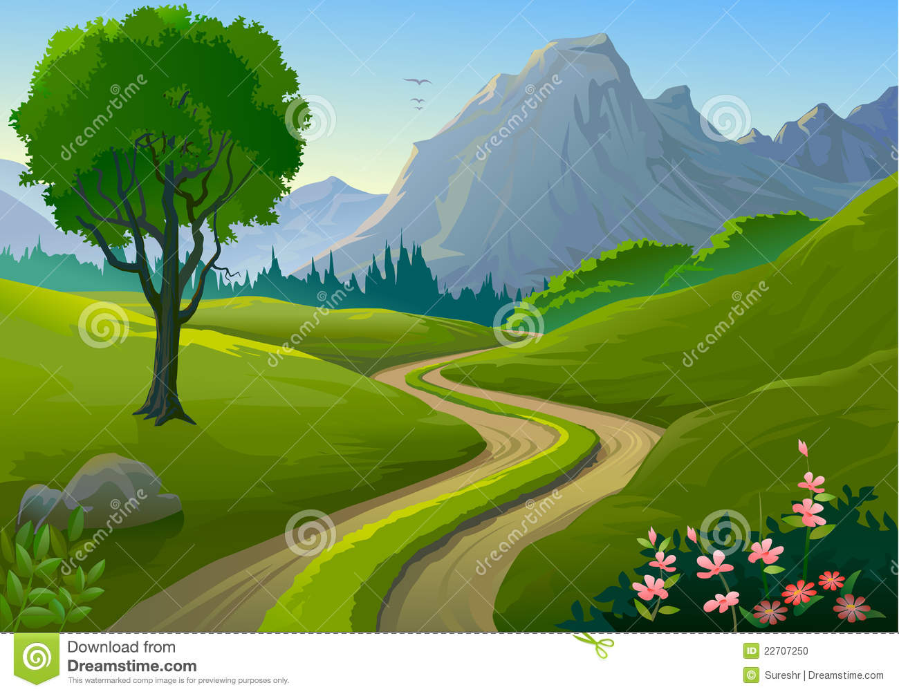 Country side rocky hills and lonely pathway stock vector Pathway images