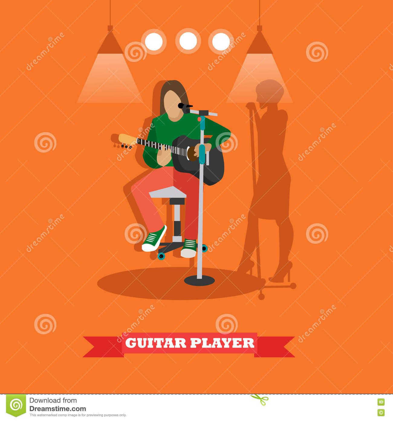 Country song guitarist playing guitar. Music rock band concept banner. Vector illustration in flat style design