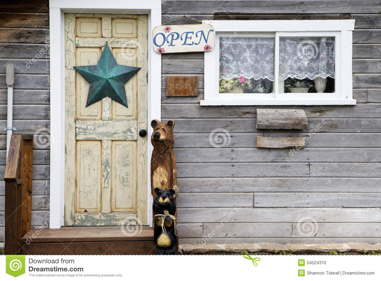 Country Store Door Stock Photo Image Of Charming Bear 54524310