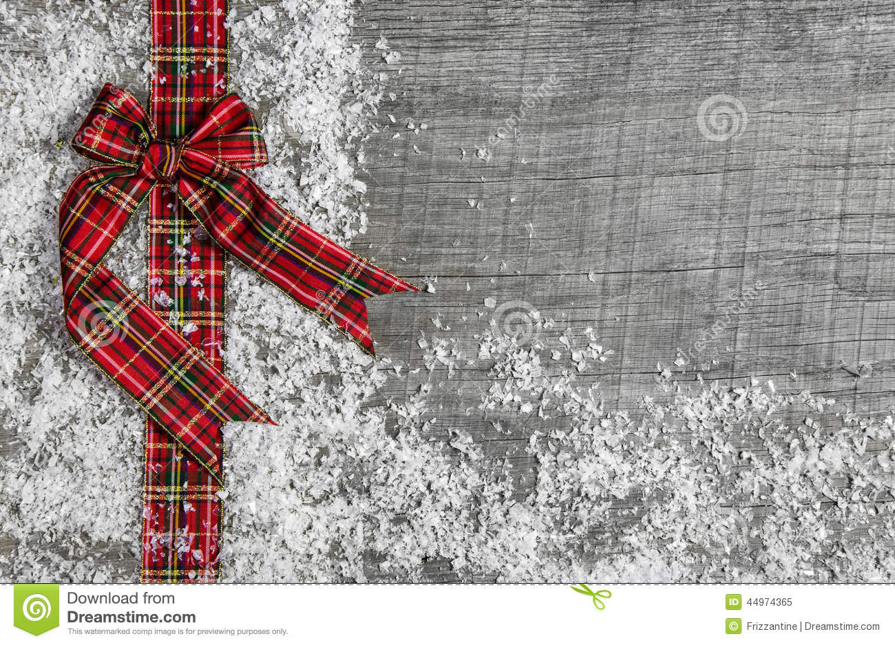 Country Style Christmas Background With Red Green Checked Ribbon