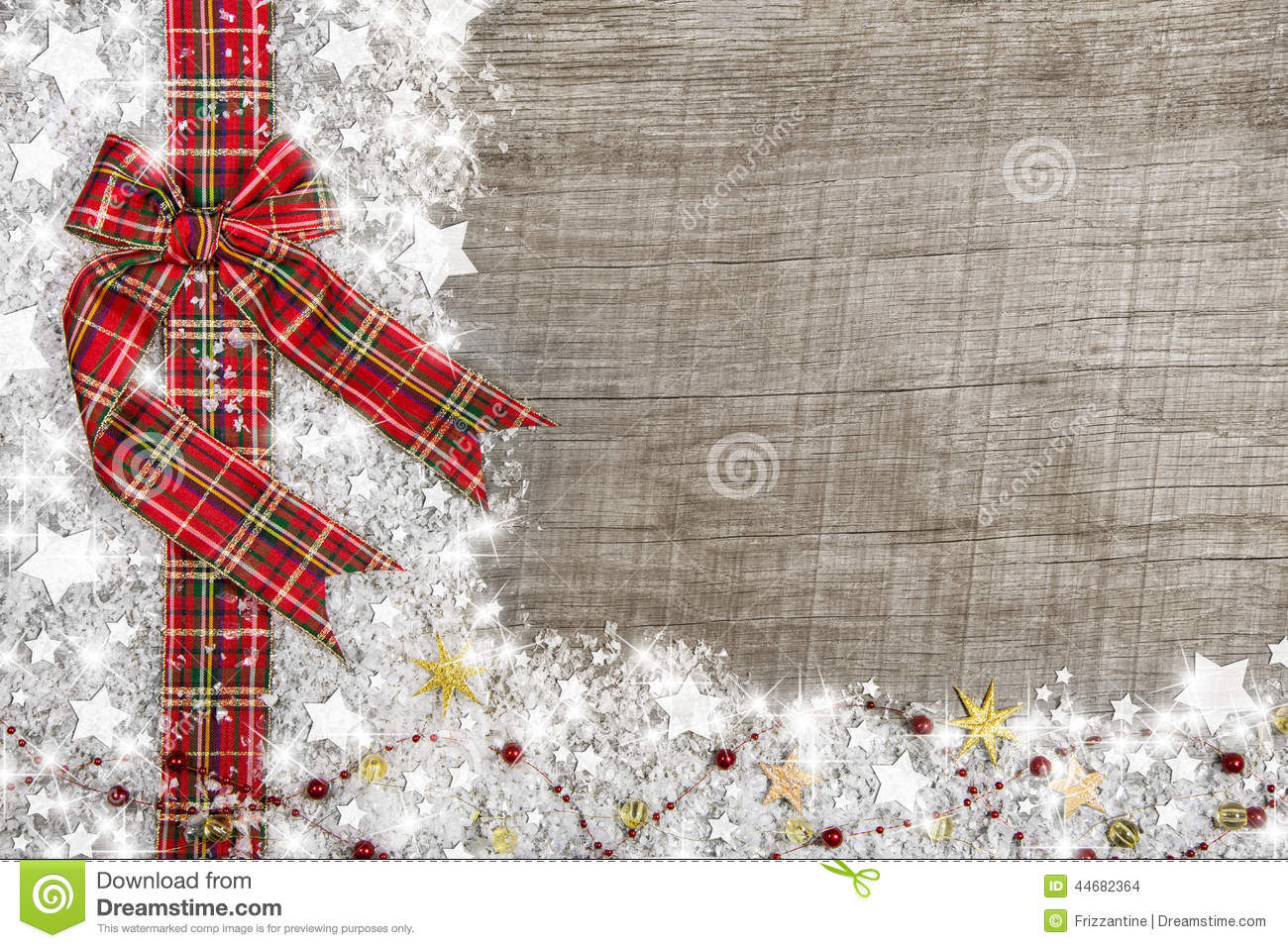 Country Style Christmas Background With Red Green Checked Ribbon ...