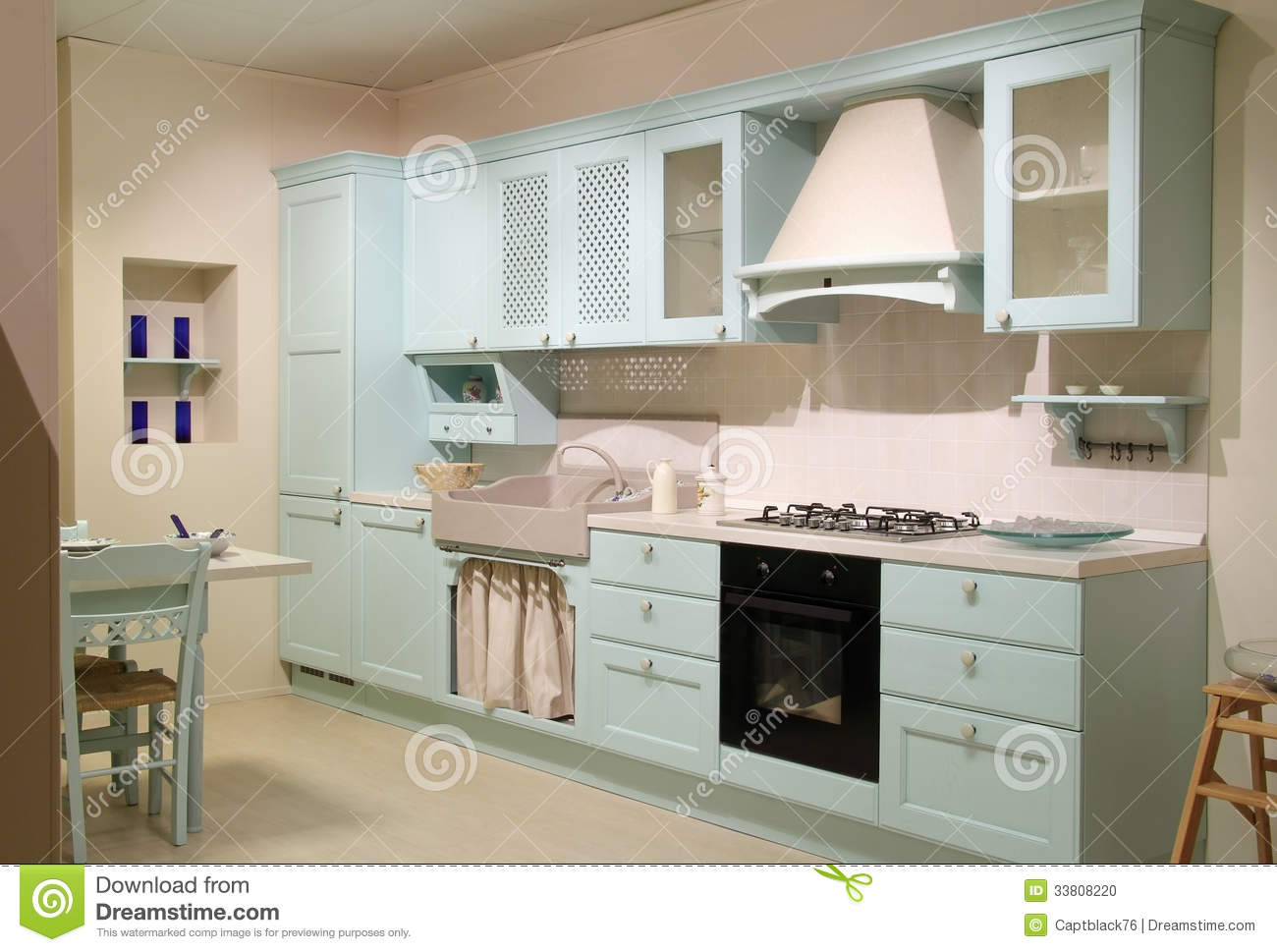 Country Style Cyan Kitchen Stock Photo - Image: 33808220