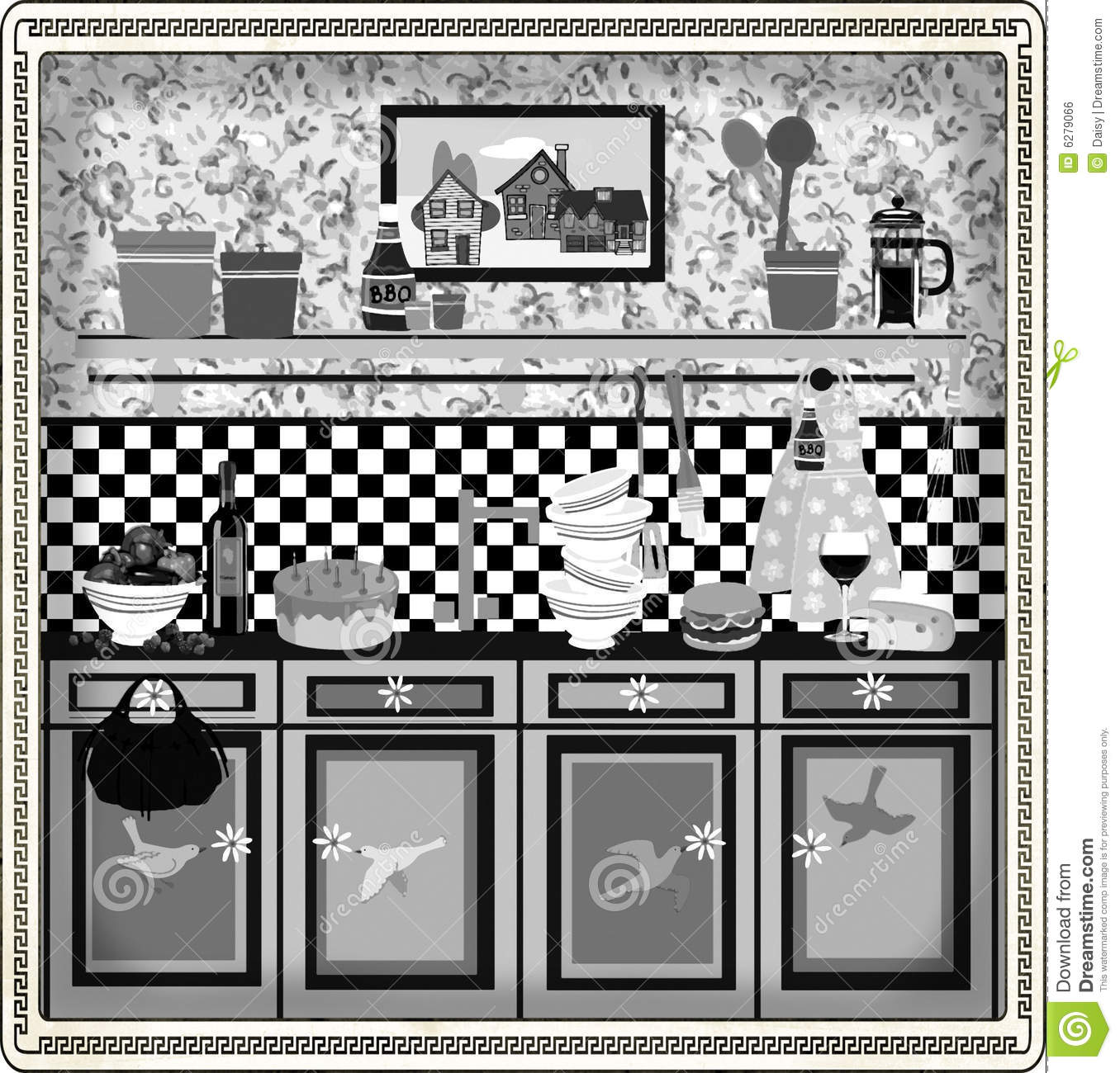 Retro Kitchen Illustration: Country Style Retro Kitchen Design Stock Illustration