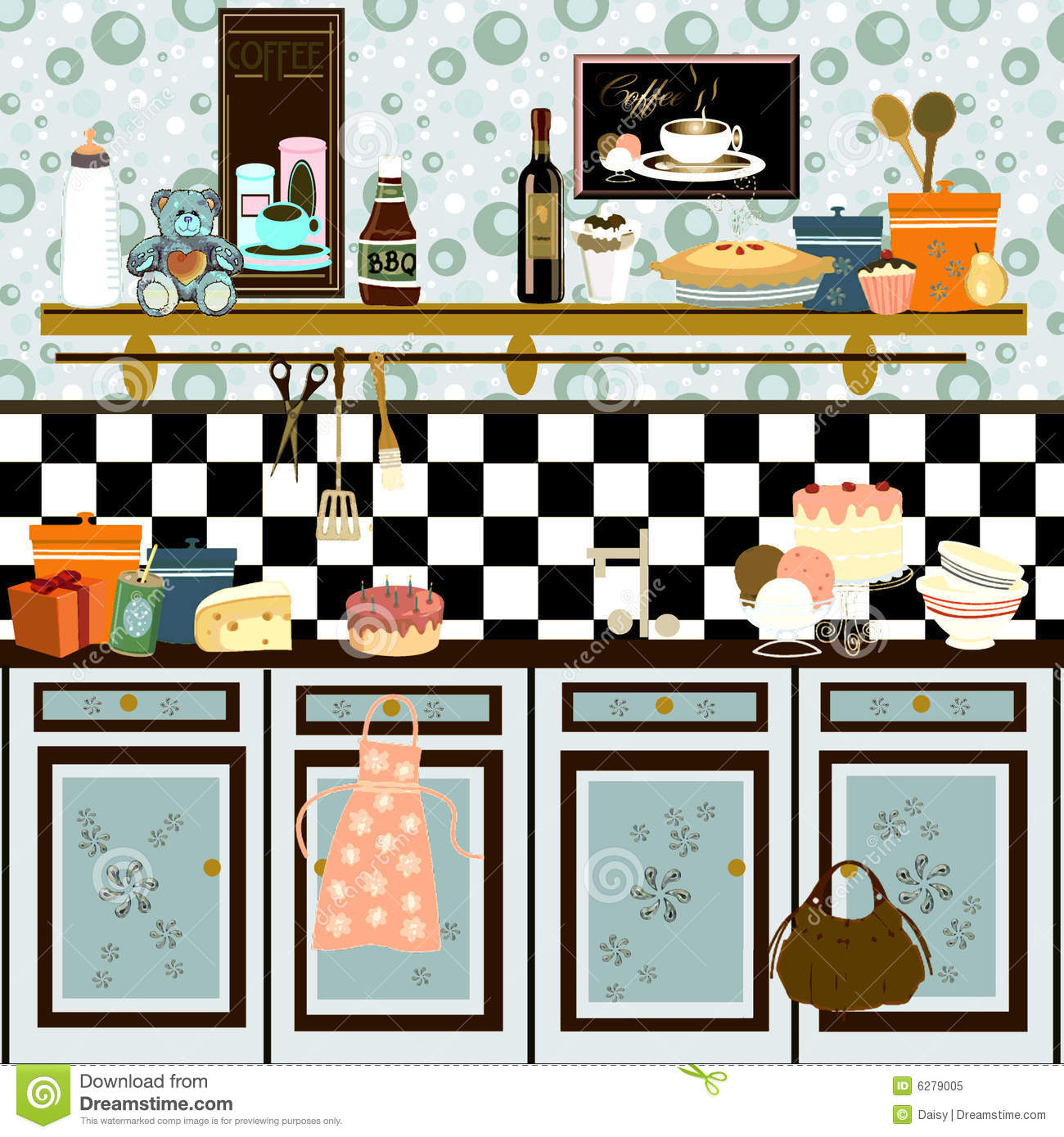 Retro Kitchen Illustration: Country Style Retro Kitchen (early Color Technique Stock