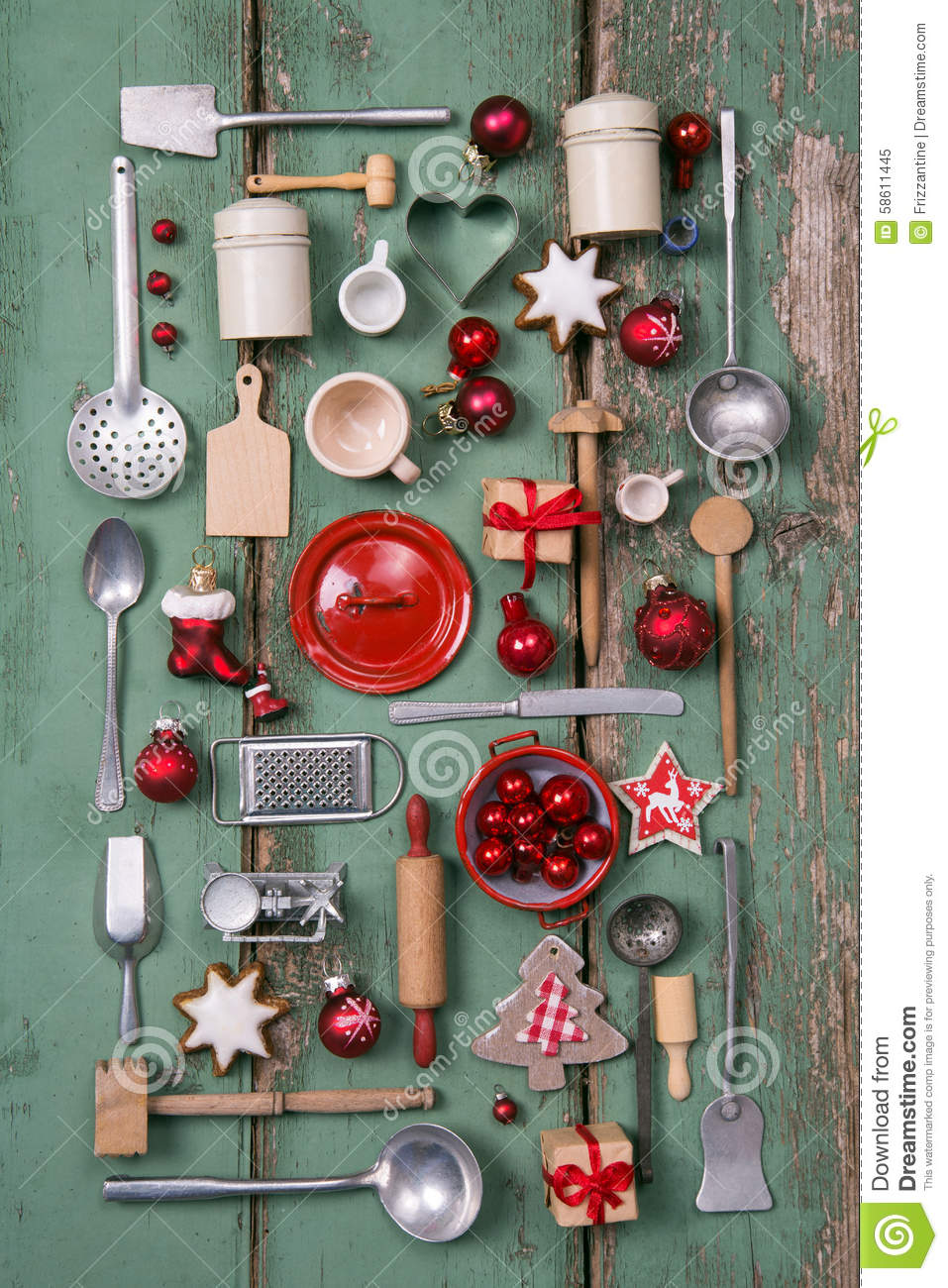 Vintage Country Kitchen Green Country Style Or Wooden Vintage Christmas Background For Kitchen
