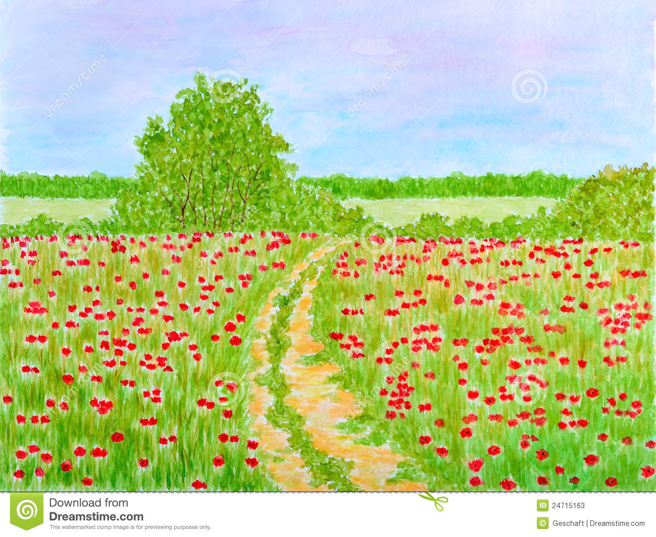 Country Summer Flowers Meadow Landscape Stock Photos