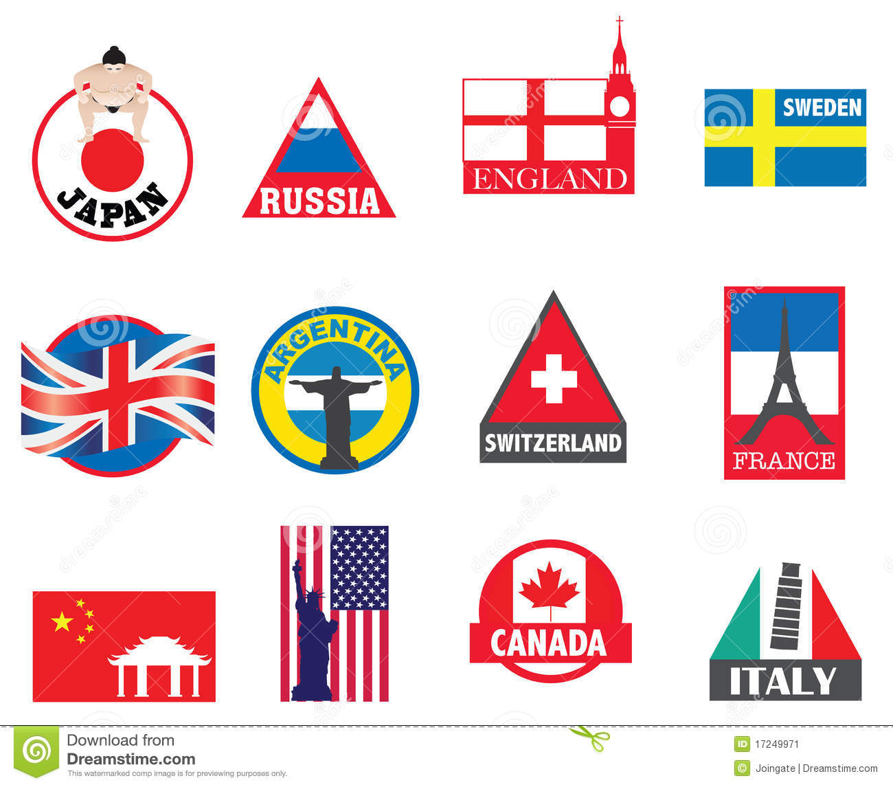 Country symbols flags and sticker designs stock vector country symbols flags and sticker designs biocorpaavc