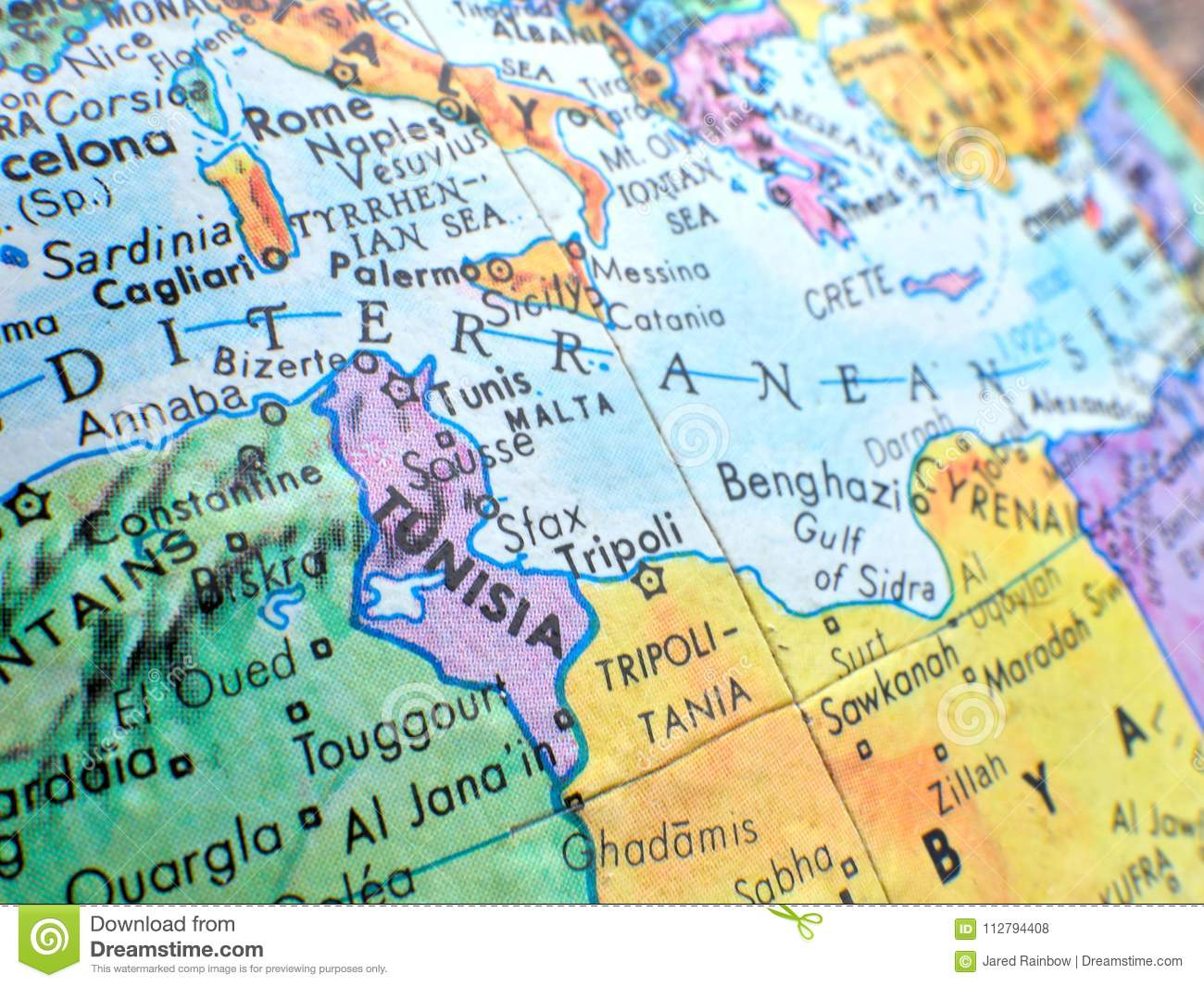 Country Of Tunisia And Mediterranean Sea Focus Macro Shot On Globe Map For Travel Blogs Social Media Website Banners An Stock Photo Image Of Global Geographic 112794408